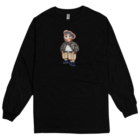 'Cholo Bear' Long Sleeve T-Shirt (Black)