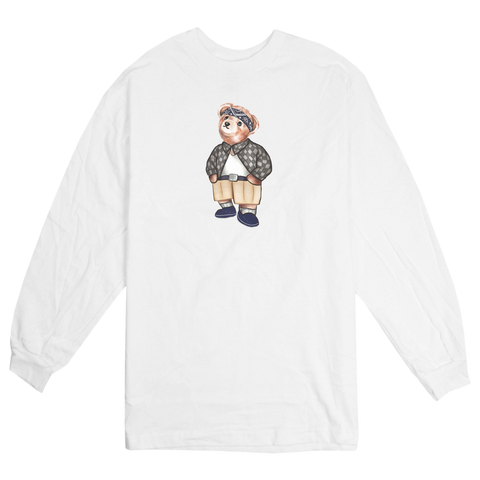 'Cholo Bear' Long Sleeve T-Shirt (White)