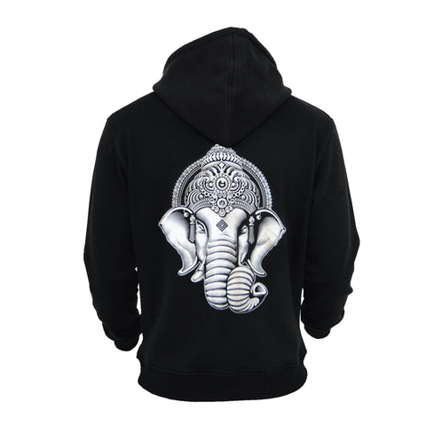 'Ganesha' Zip Up Hoodie (Black/White)