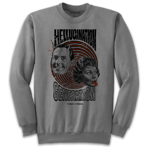 'Hellucination Generation' Crewneck Sweatshirt (Heather Grey)
