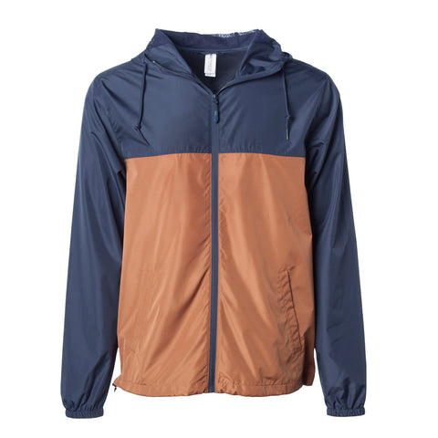 'Essentials Lightweight Windbreaker' (Navy & Saddle)