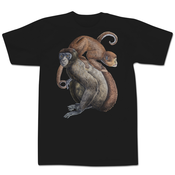 'Monkey On Your Shoulders' T-Shirt (Black)