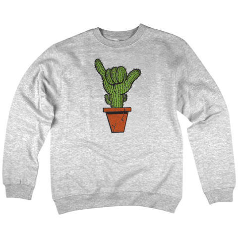 'Saguaro Shaka' Crewneck Sweatshirt (Heather Grey)