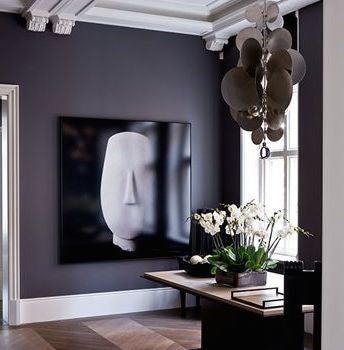 dark wall dining room