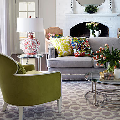 Contemporary living room green chair