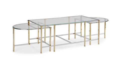 gold and glass nesting coffee table set