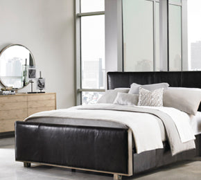 Leather bed warehouse loft