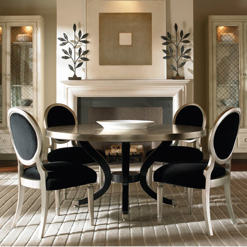 black and gold formal dining room
