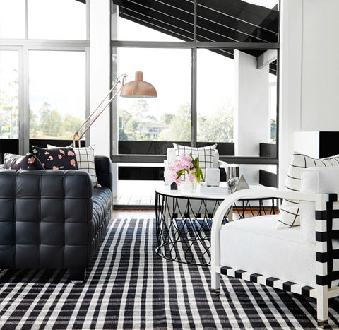 monochrome black and white interior