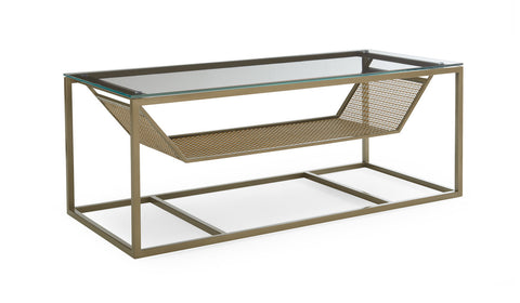 contemporary gold and glass coffee table