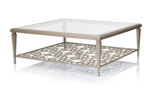 gold lattice coffee table with glass top