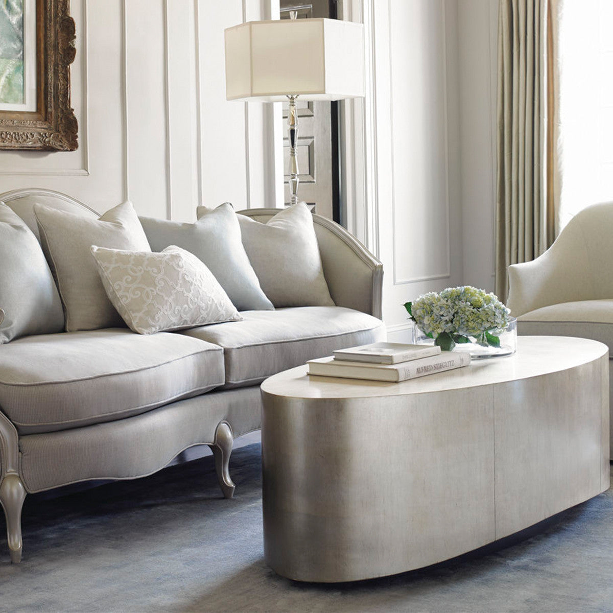 HARLOW OVAL GOLD LEAF COFFEE TABLE