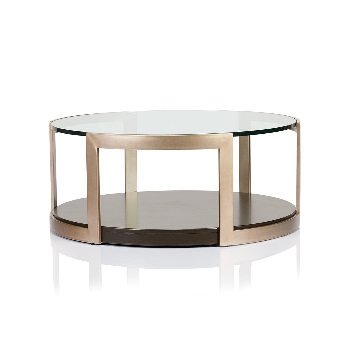 Yew Glass Topped Coffee Table: Manhattan Glass Top Round Coffee Table