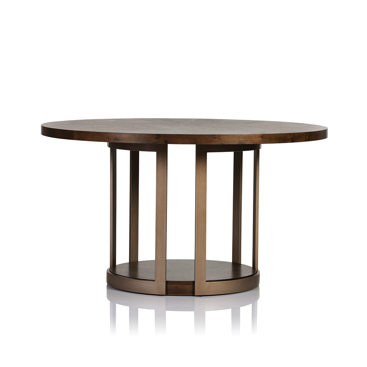 manhattan round dark oak dining table