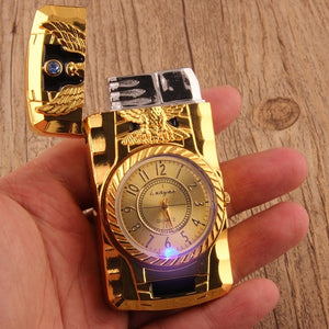 Windproof Cigarette Lighter With Quartz Watch