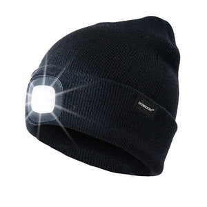 Warm Bright LED Lighted Beanie Cap Rechargeable Headlamp