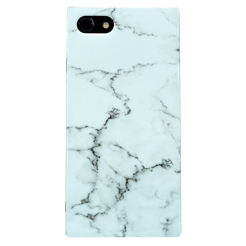 iPhone - Glossy Square Granite Marble - White