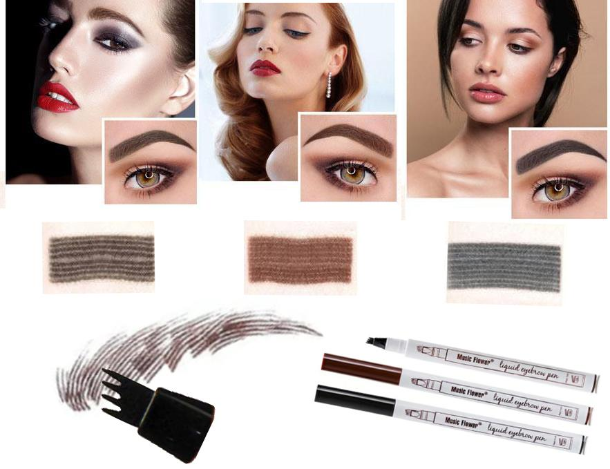 Waterproof 4-Head Fine Sketch Eyebrow Pen