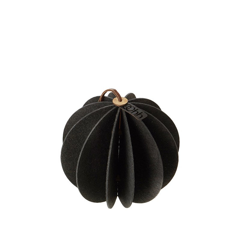 Lübech Living Hanging Felt Xmas ball Black 14 cm