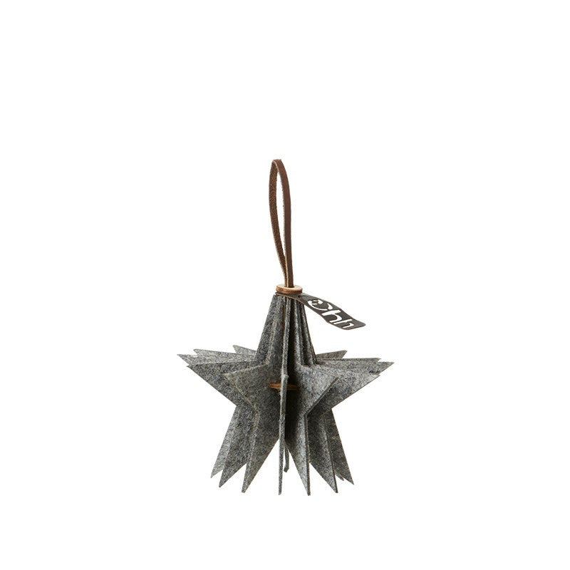 Lübech Living Felt Star ornament hanging grey