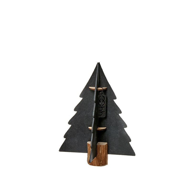 Lübech Living Xmas paper tree on woodenbase sort 15 cm
