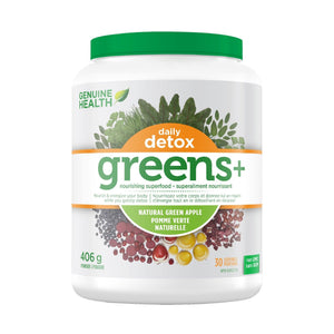 Genuine Health Green+ Daily Detox 30 serving Green Apple-HERC'S Nutrition Online