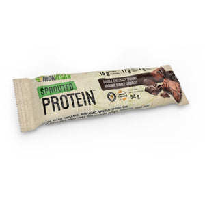 Iron Vegan Sprouted Protein Bar Double Chocolate Brownie single-HERC'S Nutrition Online