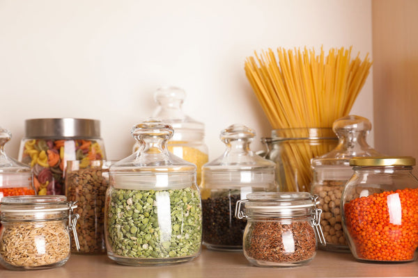 dried food in sealed containers