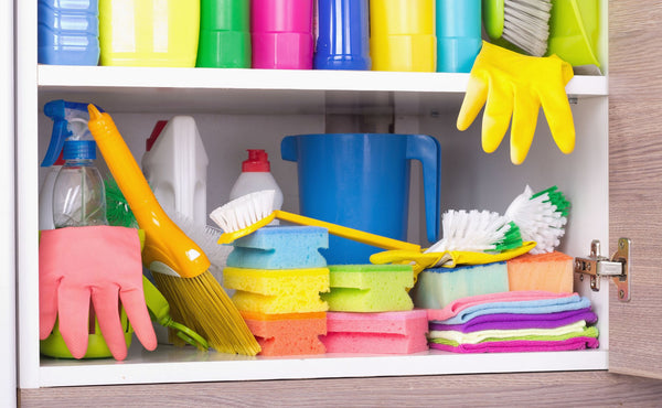 cleaning products stored neatly on shelves