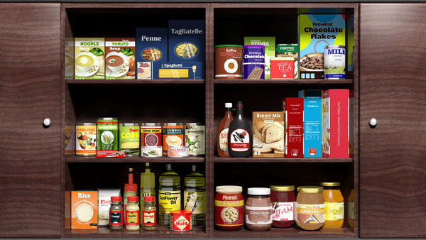 colour-coordinated shelves of food