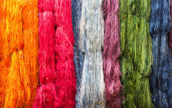 raw silk threads dyed in beautiful colours