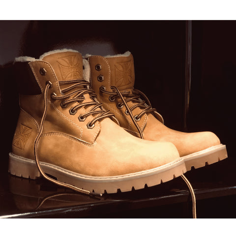 Cross Lined Boot - Camel/Dark Brown