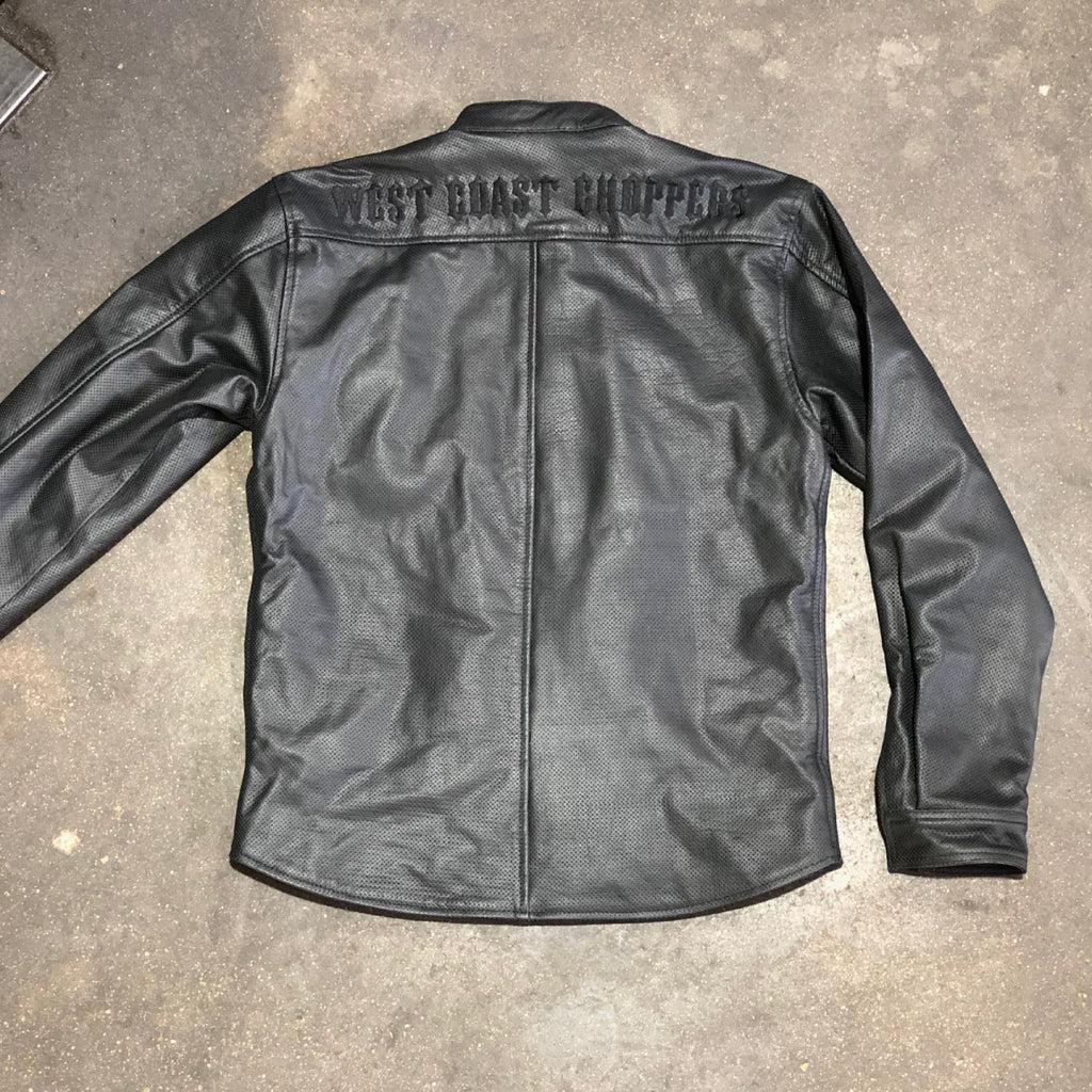 OG Perforated Leather Riding Shirt - Black