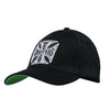 Cross roundbill Snapback Hat - Black