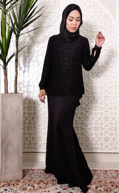 Glitter Textured Black Back Drape Kurung Set