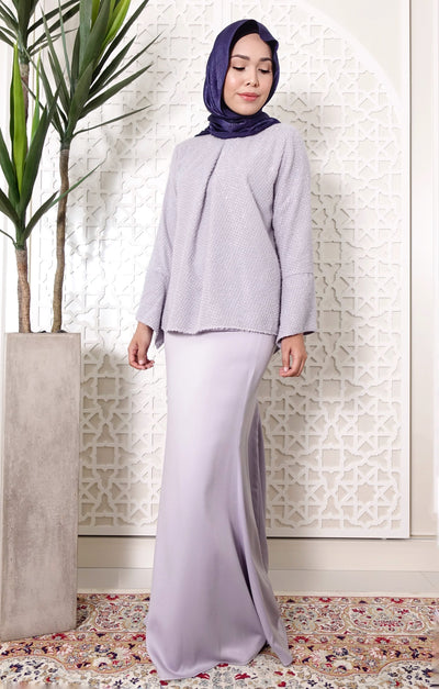Glitter Textured Silvery Blue Kurung Set
