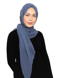 Chevron Pleated Shawl - Smoke Blue
