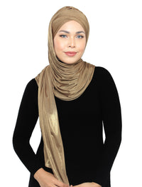 Lux Turban Metallic Jersey Shawl - Very Gold