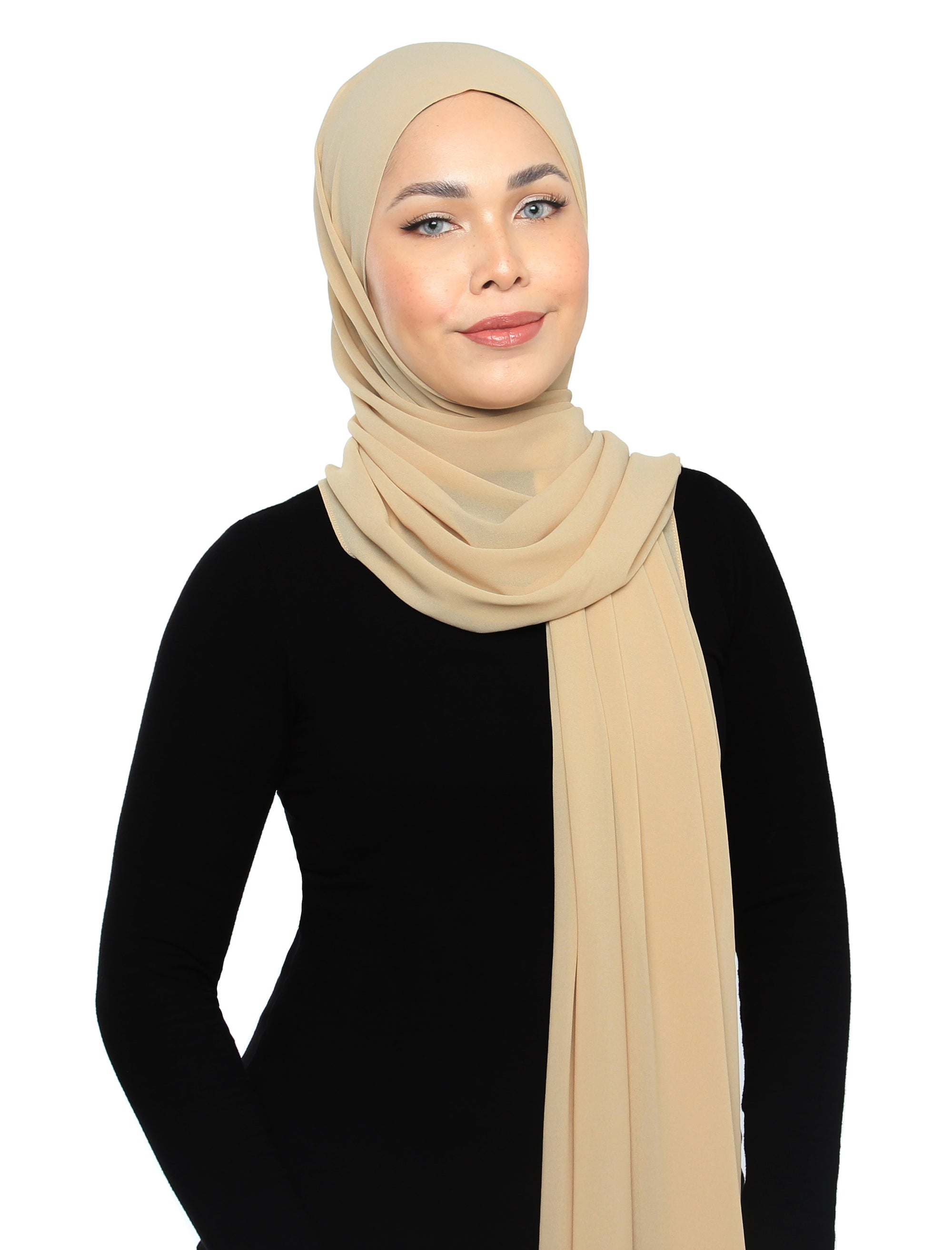 Lux Square Chiffon Shawl - Almond Milk