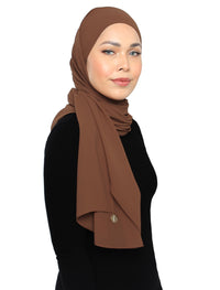 Lux Square Chiffon Shawl - Brownie