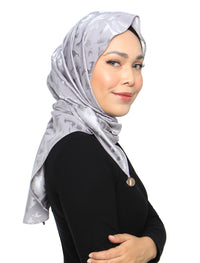 Burn Out Floral Satin Tri Scarf - Silver