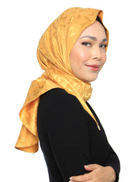 Burn Out Floral Satin Tri Scarf - Sunflower