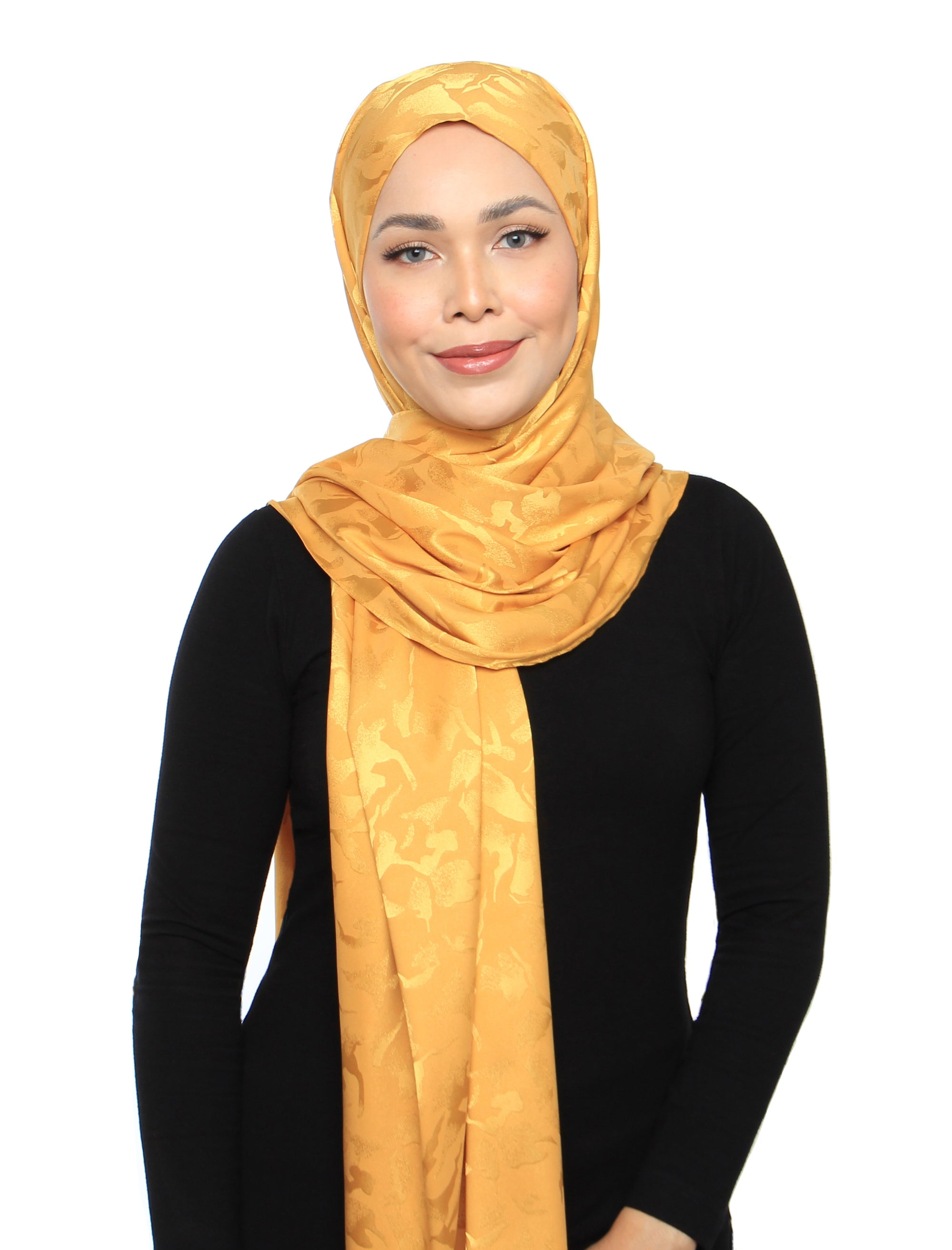 Lux Square Burn Out Floral Satin Shawl - Sunflower