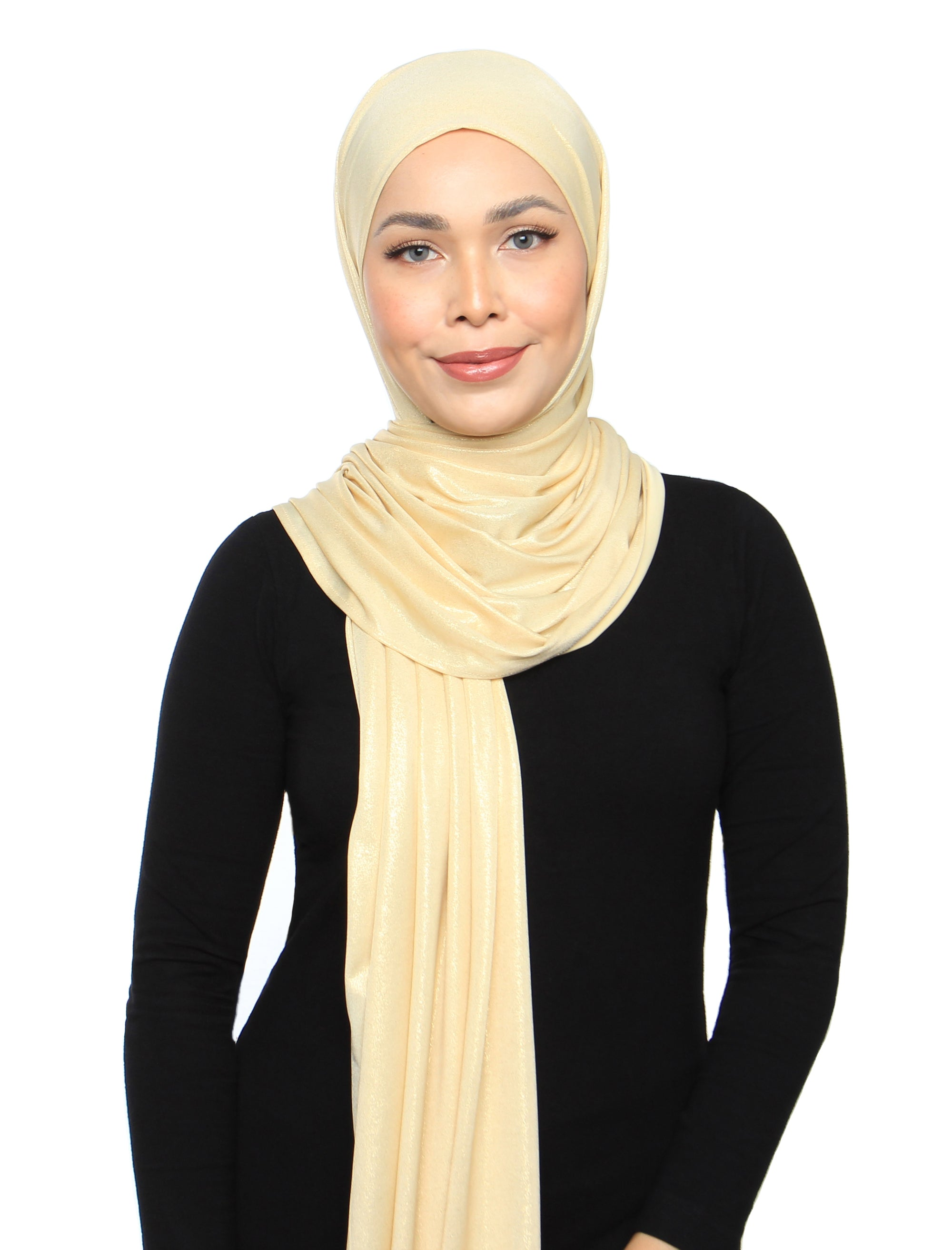 Lux Square Metallic Jersey Shawl - Pale Gold
