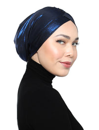 Metallic Jersey Turban - Blue