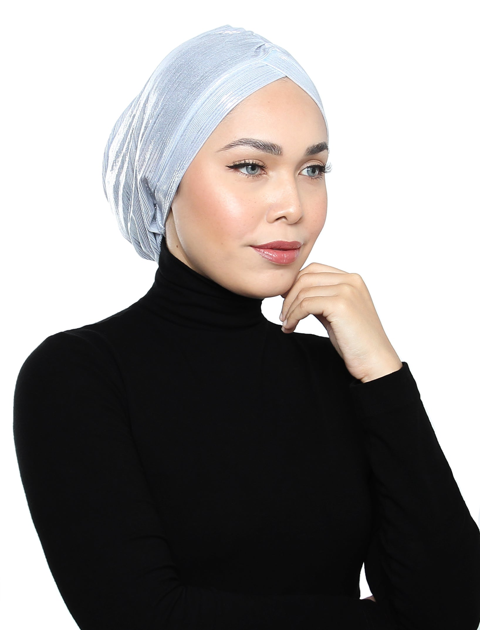 Pleated Metallic Turban - Ivory