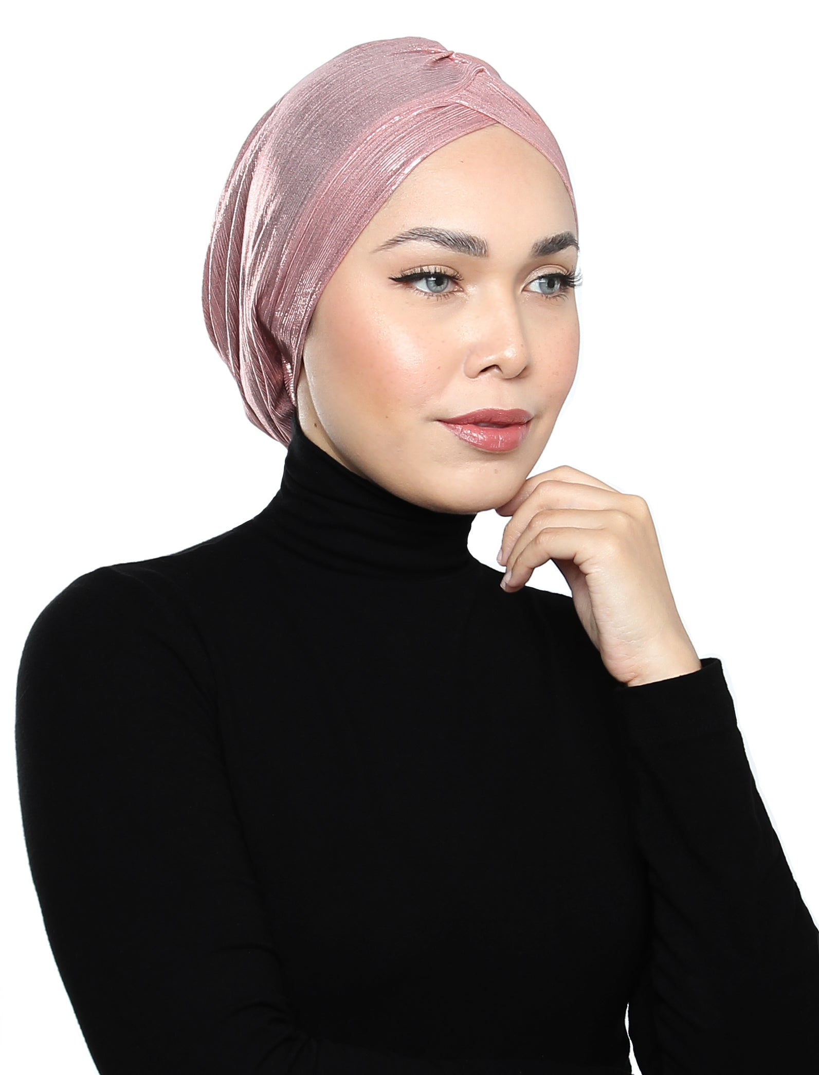 Pleated Metallic Turban - Ballet Pink