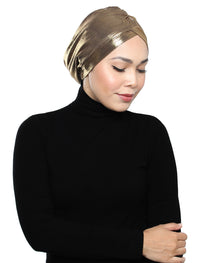 Pleated Metallic Turban - Gold