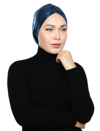 Pleated Metallic Turban - Peacock Blue