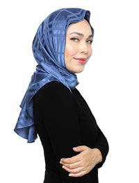 Plaid Silky Satin Tri Scarf - Blue Cornflower